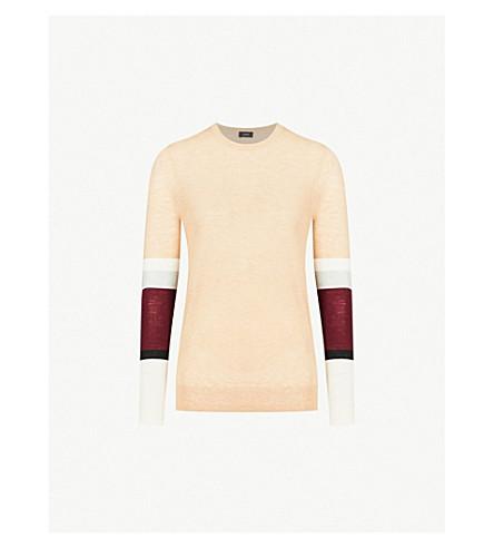 JOSEPH Cashair striped-sleeve cashmere jumper (Camel