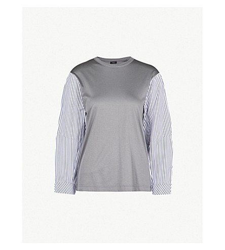 JOSEPH Striped panelled cotton-jersey top (Grey