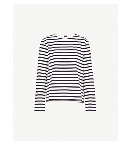 JOSEPH Striped cotton-jersey top (Navy