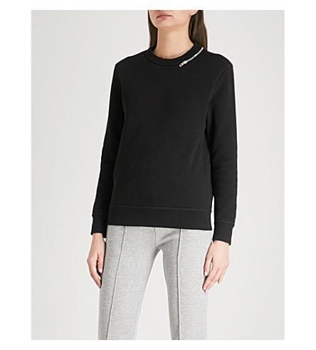 JOSEPH Zip-detail cotton-jersey sweatshirt (Black
