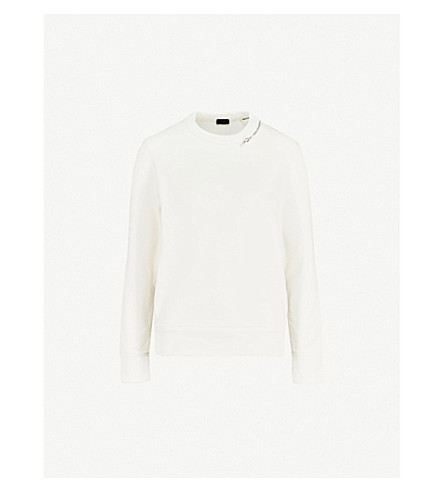 JOSEPH Zipper-detail cotton-jersey sweatshirt (Ecru