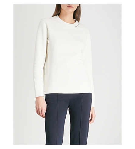 JOSEPH Zip-detail cotton-jersey sweatshirt (Ecru