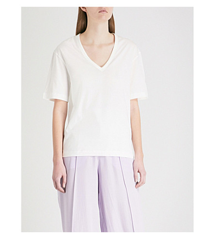 JOSEPH V-neck cotton-jersey T-shirt (Off+white