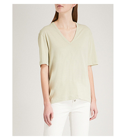 JOSEPH Deep V-neck cotton-jersey T-shirt (Pea