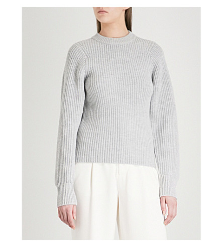 JOSEPH Purl wool, silk and cashmere-blend jumper (Grey+chine