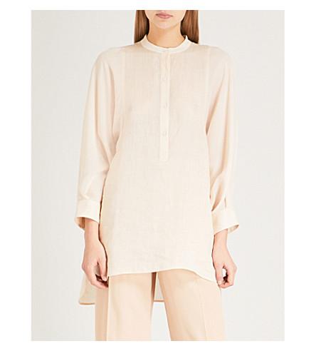 JOSEPH Longline woven blouse (Pearl