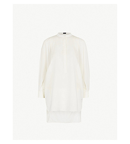 JOSEPH Longline woven blouse (Ecru