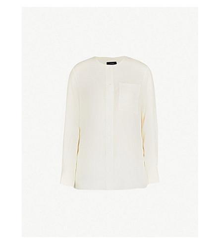 JOSEPH Longline woven shirt (Ecru
