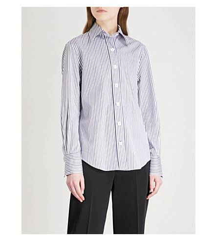 JOSEPH New-Garçon striped cotton-poplin blouse (Ink