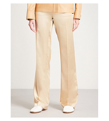 JOSEPH Ferdy straight silk-satin trousers (Beige