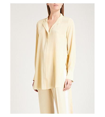 JOSEPH Collarless silk blouse (Custard