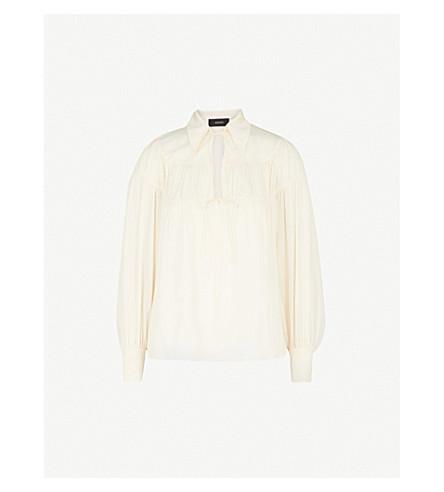 JOSEPH Ruched silk-crepe blouse (Ecru
