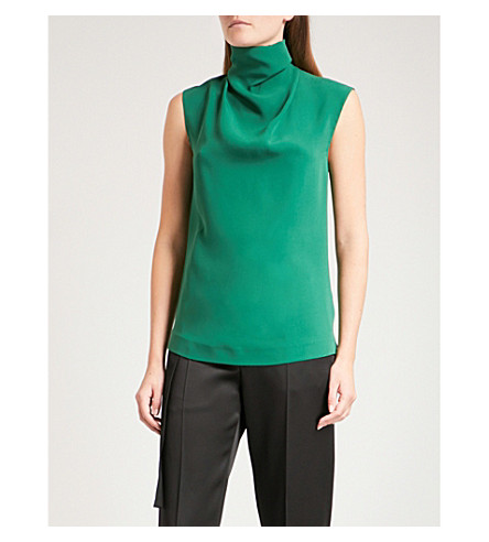 JOSEPH High-neck silk blouse (Emerald