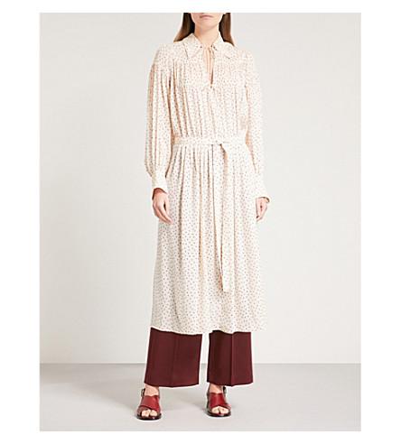 JOSEPH Crosby heart-print silk dress (Ecru