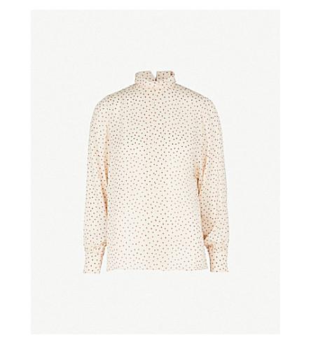 JOSEPH Leya heart-print silk blouse (Ecru