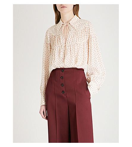 JOSEPH Crosby heart-print silk-crepe de chine blouse (Ecru