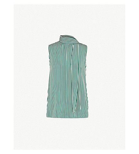 JOSEPH Striped asymmetric silk vest (Emerald