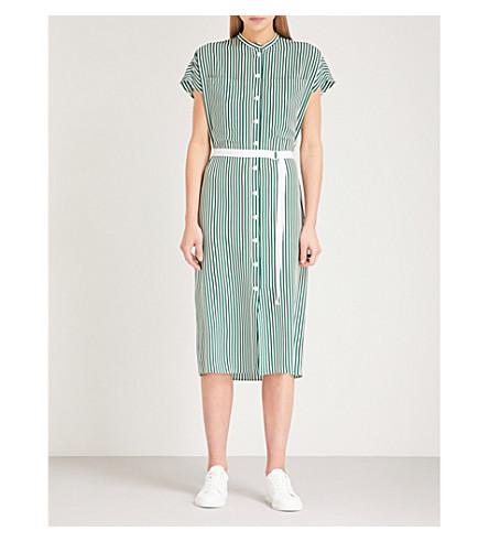 JOSEPH Striped silk shirt dress (Emerald