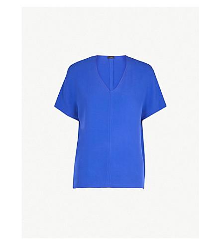 JOSEPH V-neck silk-crepe top (Cobalt+blue