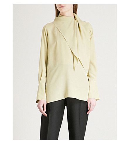 JOSEPH Geoff silk-crepe de chine blouse (Pea