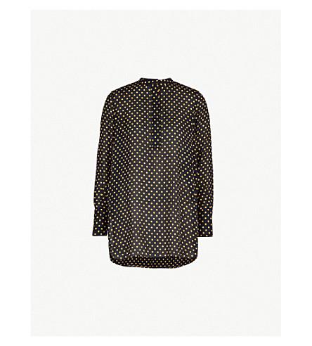 JOSEPH Polka dot silk-crepe blouse (Navy