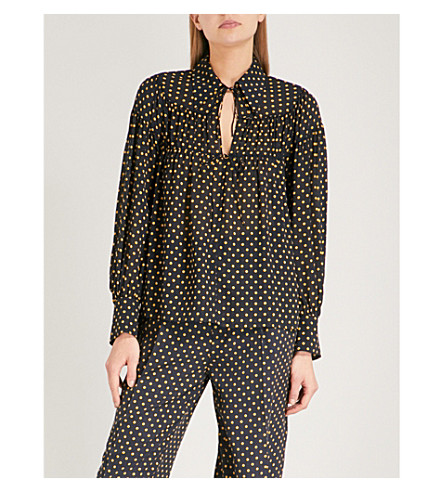JOSEPH Polka dot-print silk blouse (Navy
