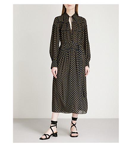 JOSEPH Polka dot silk-chiffon dress (Navy