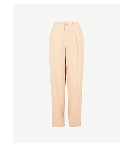 JOSEPH High-rise silk-toile trousers (Stucco
