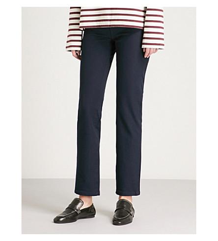 JOSEPH Den straight tapered stretch-gabardine trousers (Navy