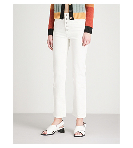 JOSEPH Den straight slim-fit stretch-gabardine trousers (White
