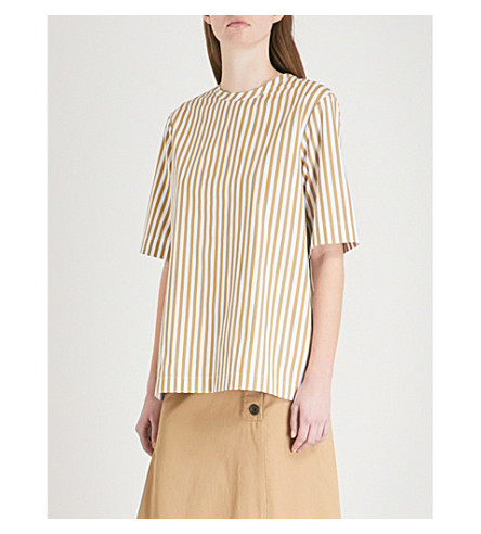 JOSEPH Foley striped cotton top (Tawny