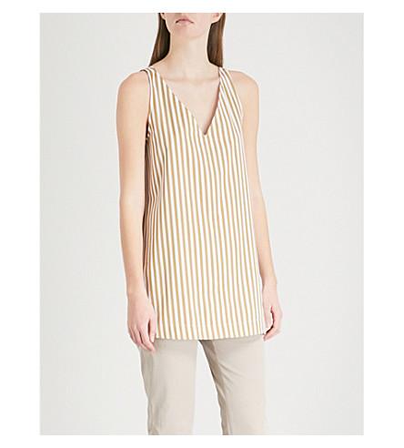 JOSEPH Davis striped sleeveless cotton top (Tawny