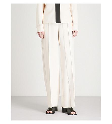 JOSEPH Kirn contrast-stitch wide-leg woven-stretch trousers (Ecru/black