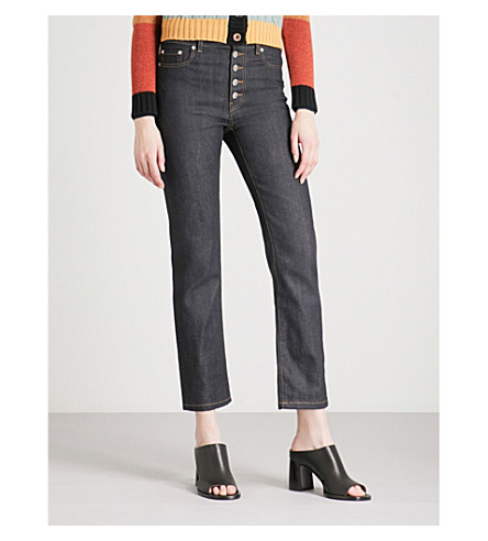 JOSEPH Slim-fit straight cropped high-rise jeans (Dark+indigo