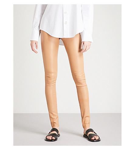 JOSEPH Skinny leather trousers (Stucco