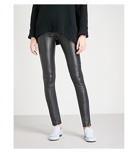 JOSEPH Panelled leather leggings (Navy
