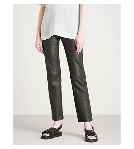 JOSEPH Den straight stretch-leather trousers (Black
