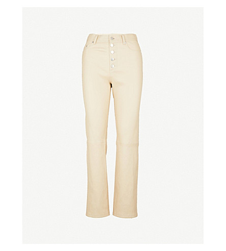 JOSEPH Slim-fit straight high-rise leather trousers (Beige