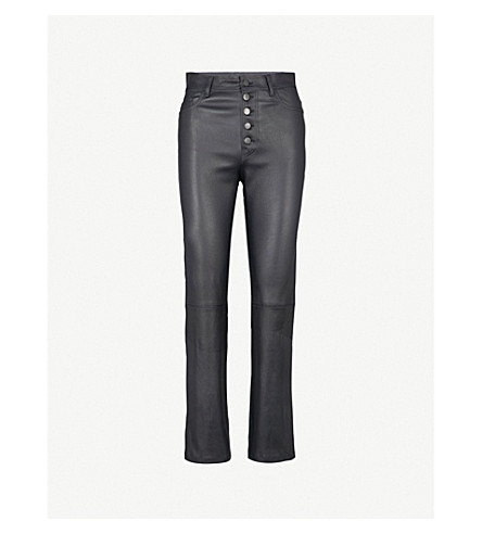 JOSEPH Slim-fit straight high-rise leather trousers (Navy