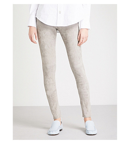 JOSEPH Panelled suede leggings (Grey