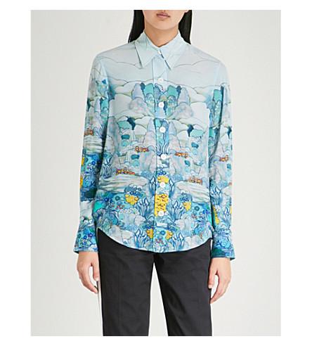 Azul Nuevo con estampado Garcon JOSEPH paisajístico gasa seda camisa de de FqwgC