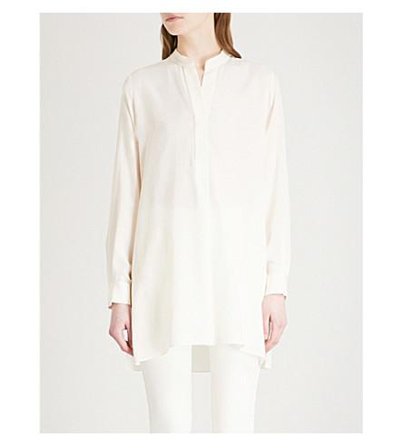 JOSEPH Band-collar silk shirt (Ecru