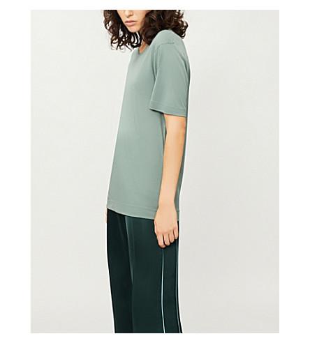 JOSEPH Round-neck silk-jersey T-shirt (Light+clover