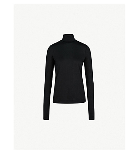 JOSEPH Turtleneck silk-jersey top (Black