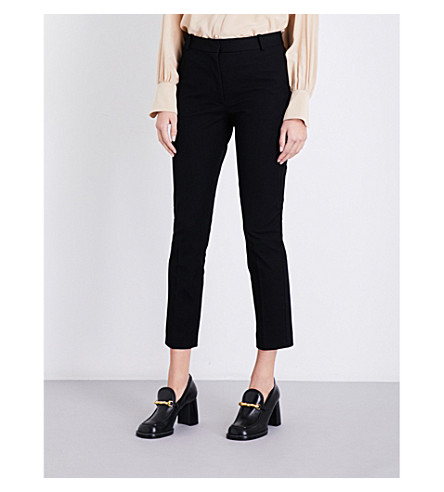 JOSEPH Tapered stretch-gabardine trousers (Black