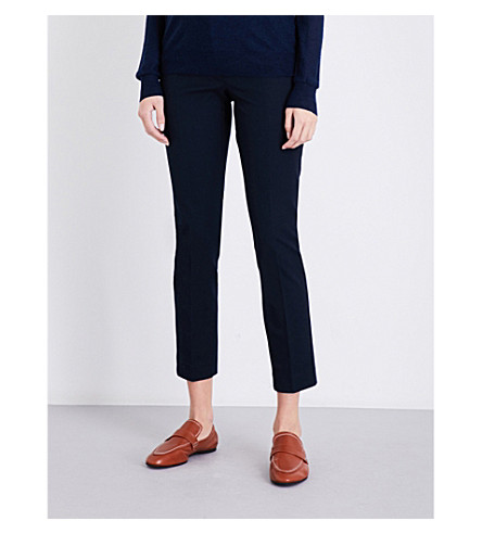 JOSEPH Tapered stretch-gabardine trousers (Navy