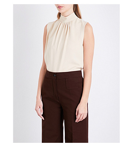 JOSEPH Bell stretch-crepe blouse (Dust