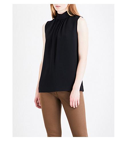 JOSEPH Cady crepe bell blouse (Black
