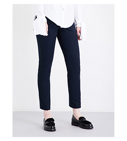 JOSEPH Finley tapered stretch-gabardine trousers (Navy