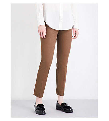 JOSEPH Finley stretch-gabardine trousers (Dark+fawn